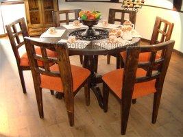 Muebles rsticos el campanario for Comedor madera redondo